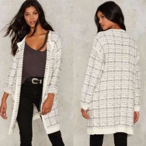 Dance & Marvel knitted tweed ivory long cardigan